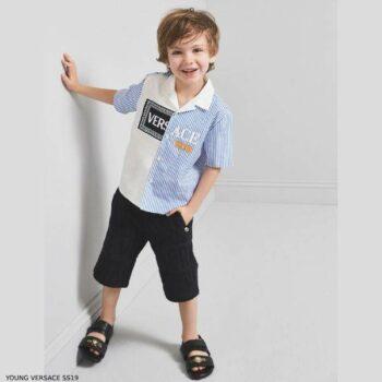 Young Versace Boys White Blue Stripe Button Down Logo Shirt