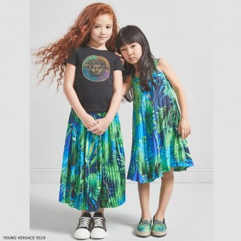 Young Versace Girl Jungle Leaf Print Blue & Green Silk Dress