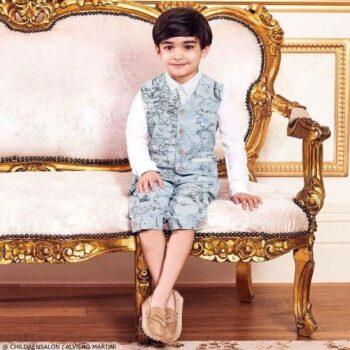 Alviero Martini Boys EID Blue Geo Map Print Vest Shorts Outfit