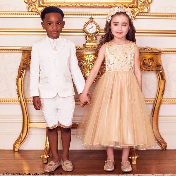Alviero Martini Boys Ivory Geo Map Short Suit & Childrensalon Girls Gold Tulle Dress