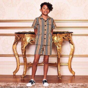 Burberry Boys EID Beige Stripe Shirt Shorts
