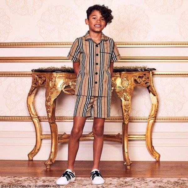 Burberry Boys EID Beige Stripe Shirt & Shorts Outfit