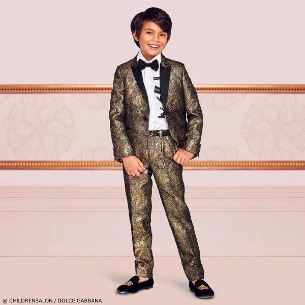 Dolce & Gabbana Boys EID Gold Jacquard Special Occasion Suit