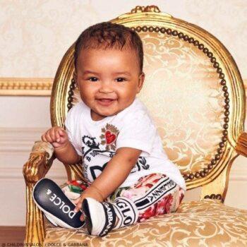 Dolce Gabbana EID Baby Girl White Crown Logo Tshirt Floral Jogger Pants