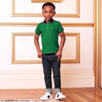 Gucci Boys EID Green Polo Shirt Denim Jeans Outfit
