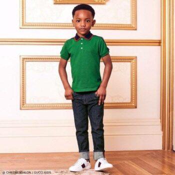 Gucci Boys EID Green Polo Shirt Denim Jeans Outfit