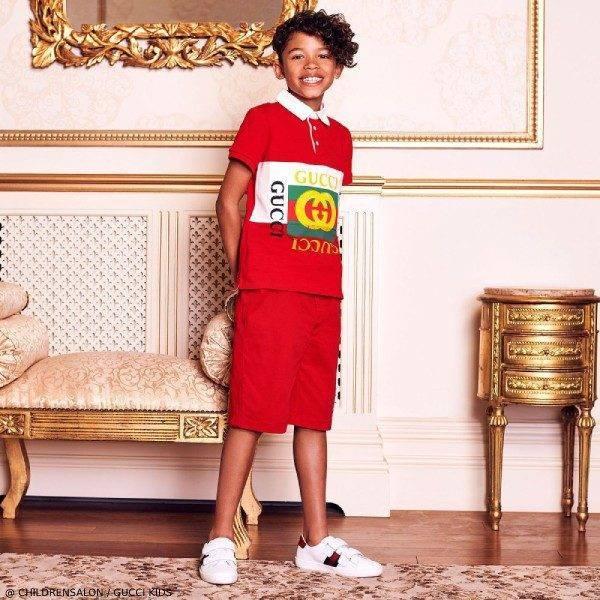 Gucci Boys EID Red Logo Polo Shirt Bermuda Shorts