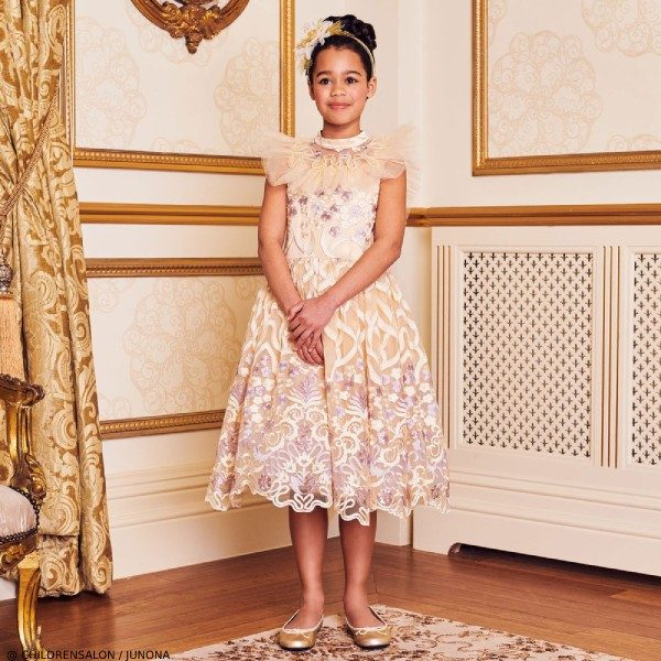 Junona Girls EID Champagne Ivory Tulle Lace Party Dress
