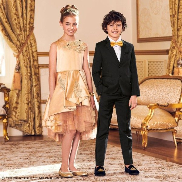 Le Mu Girls EID Gold Satin Dress Paul Smith Boys Black Tuxedo Suit