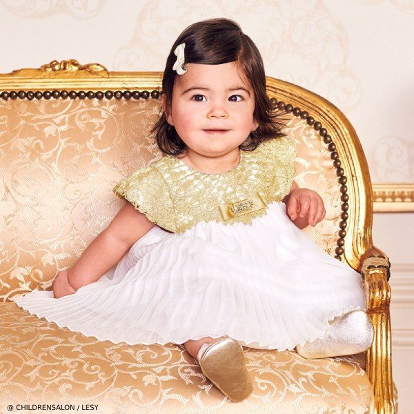 Lesy EID Baby Girls Luxury White & Gold Chiffon Dress