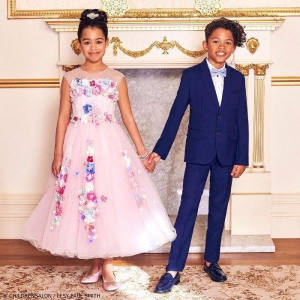 Lesy Girls EID Luxury Pink Tulle Dress Paul Smith Boys Blue Costume Wool Suit
