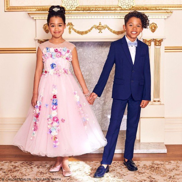 LESY GIRLS EID LUXURY PINK TULLE DRESS & PAUL SMITH BOYS BLUE WOOL SUIT