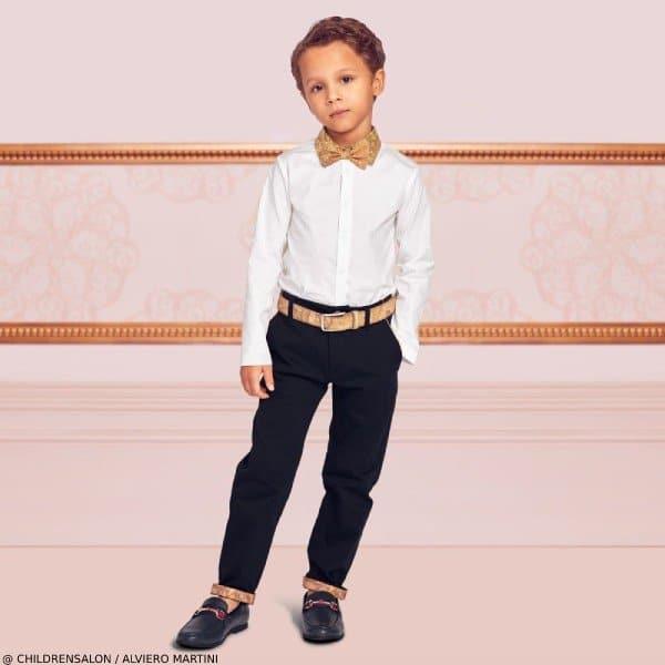Alviero Martini Boys EID White Dress Shirt Navy Pants