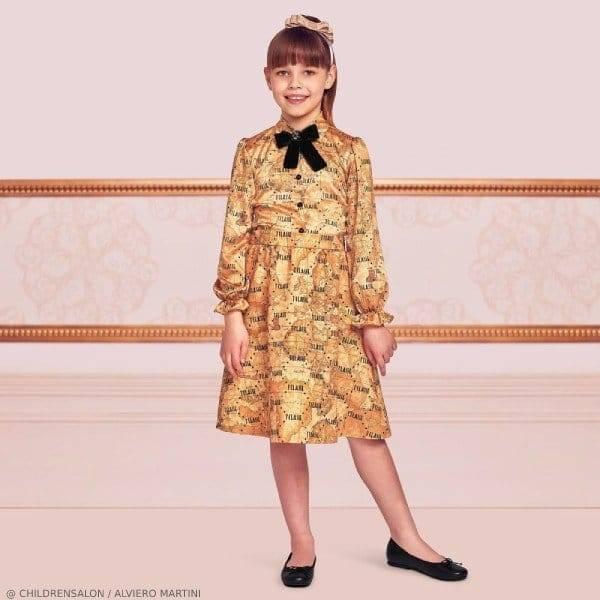 Alviero Martini Girls EID Beige Geo Map Blouse & Skirt