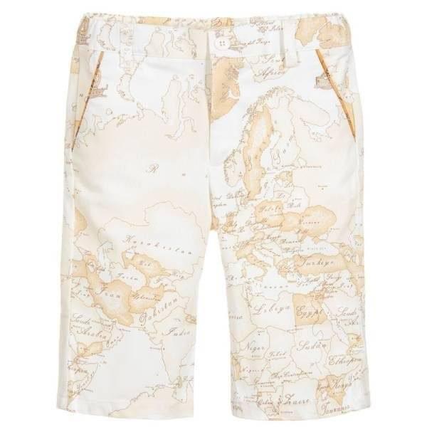 Alviero Martini Light Geo Map Cotton Shorts