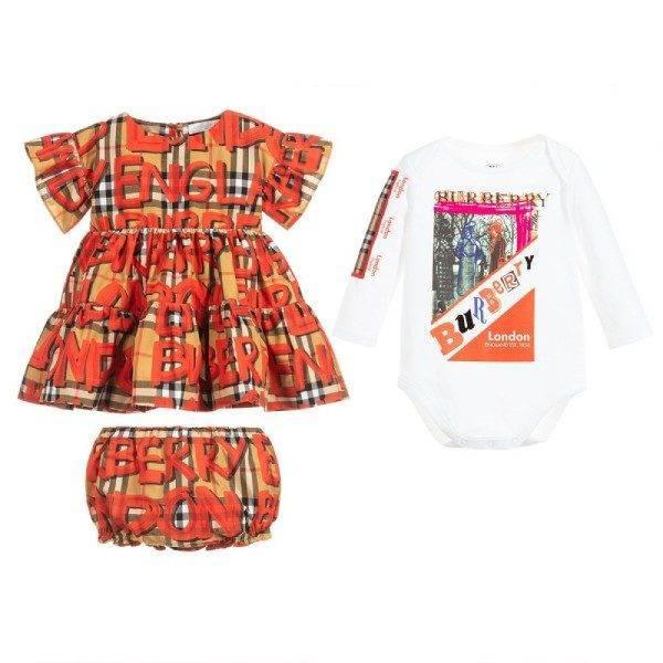 BURBERRY Baby Girl AMY Graffiti Vintage Check Dress & Bodysuit Gift Set