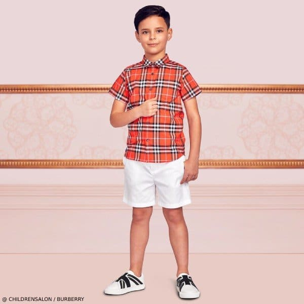 Burberry Boys EID Red Vintage Check Shirt White Shorts