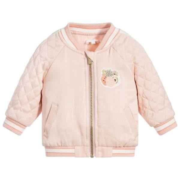 CHLOE Baby Girl Pink Satin Bomber Jacket