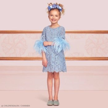 Charabia Girls EID Blue Lace & Feather Party Dress