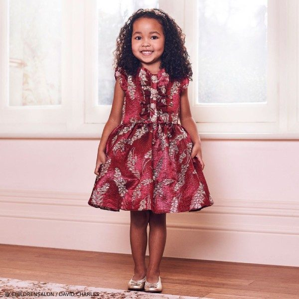 David Charles Girls EID Red & Gold Brocade Party Dress