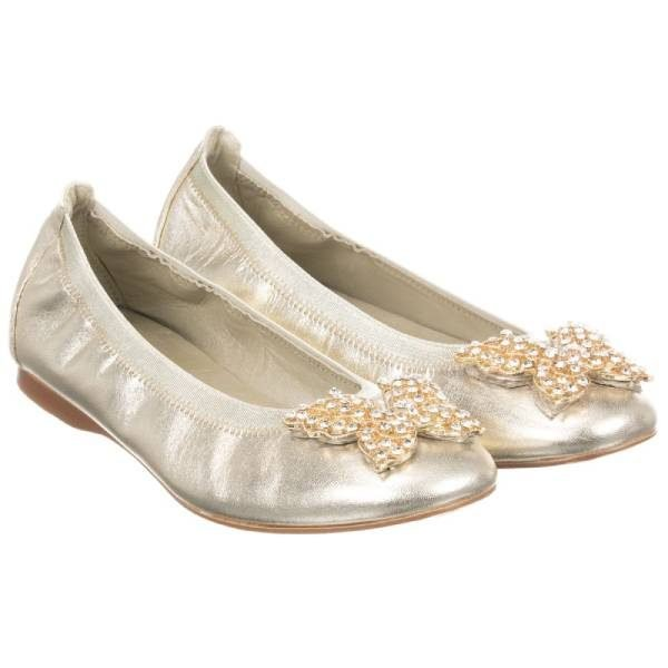 David Charles Girls Gold Leather Shoes