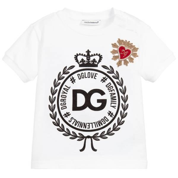 Dolce Gabbana Baby Girl White Crown Logo T-Shirt