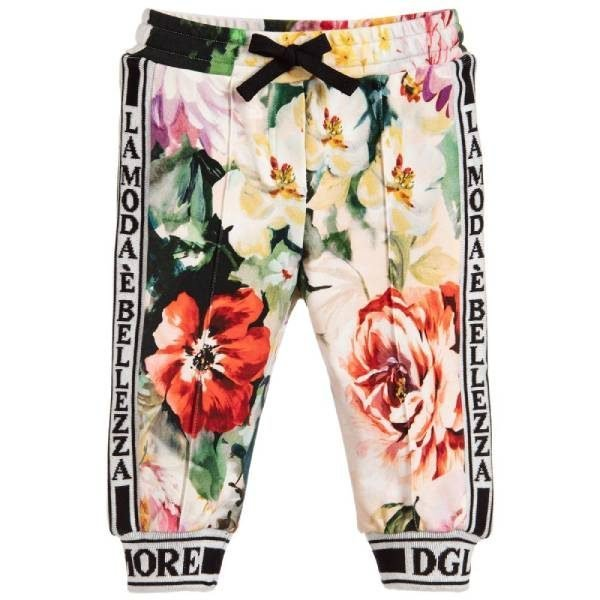 Dolce & Gabbana Girls Floral Cotton Joggers