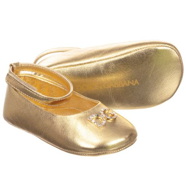 Dolce & Gabbana Gold Leather Pre-Walker Shoes