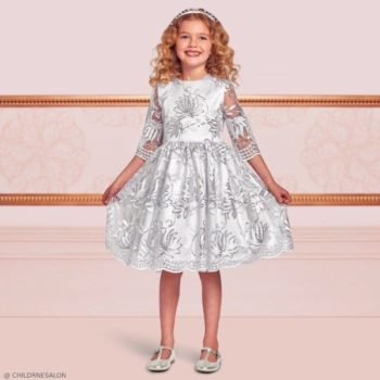 Dresses by CHILDRENSALON Girls EID Embroidered Silver Tulle Dress
