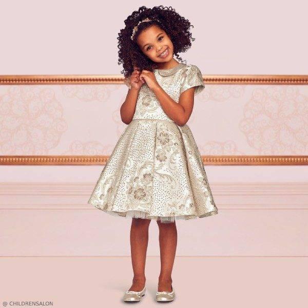 Dresses by CHILDRENSALON Girls EID Gold Brocade Dress