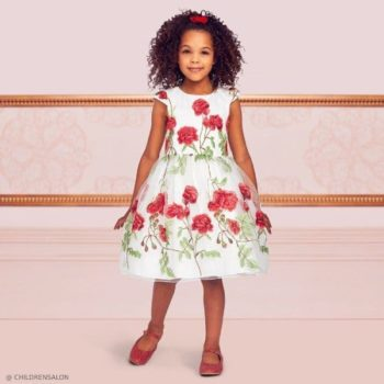 Dresses by CHILDRENSALON Girls EID Ivory Red Flower Embroidered Tulle Dress