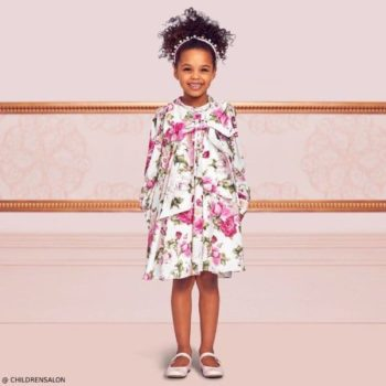 Dresses by CHILDRENSALON Girls EID Pink Floral Crepe Party Dress