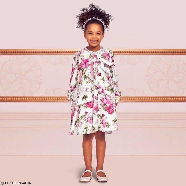 Dresses by CHILDRENSALON Girls EID Pink Floral Crepe Party Dress