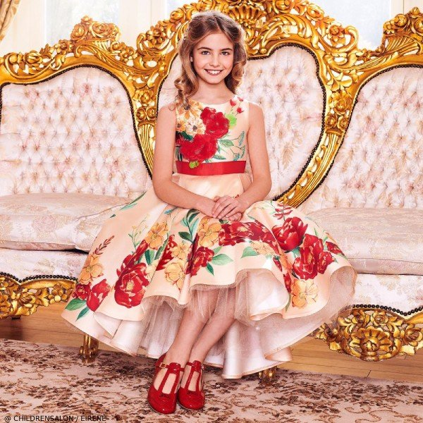 Eirene Girls EID Gold & Red Floral Satin Party Dress