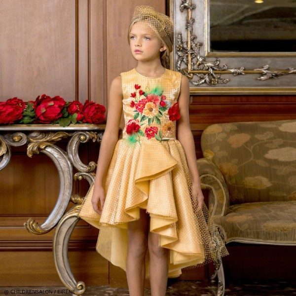 Eirene Girls EID Gold Floral Satin Party Dress