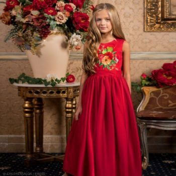 Eirene Girls EID Red Floral Satin & Chiffon Long Party Dress