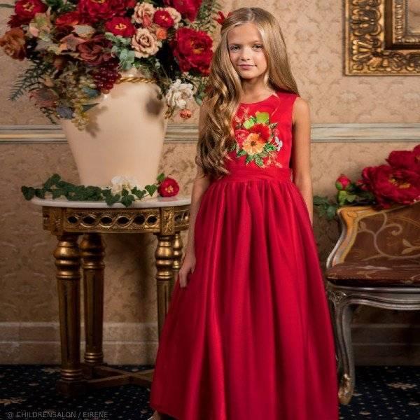 Eirene Girls EID Red Floral Satin & Chiffon Long Party Dress