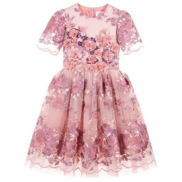Eirene Pink Tulle & Satin Dress