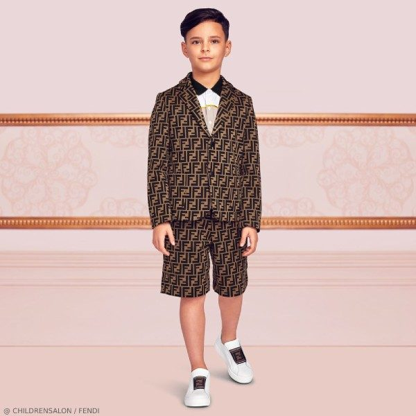 Fendi Boys EID Brown FF Logo Blazer Short Suit