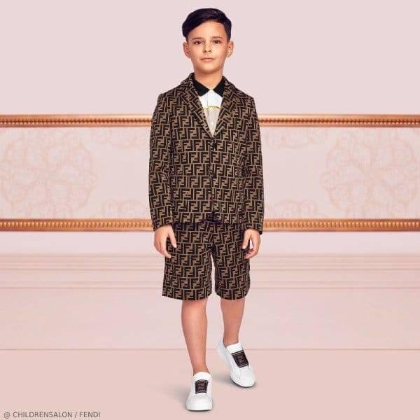 Fendi Boys EID Brown FF Logo Blazer Short Suit