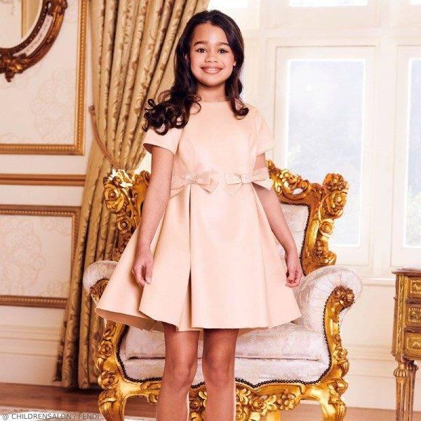 Fendi Girls EID Pink Silk Blend Party Dress