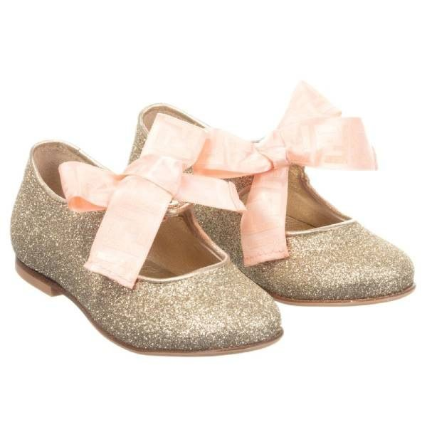 Fendi Girls Gold Glitter Shoes
