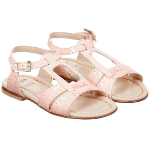 Fendi Girls Pink Patent Sandals