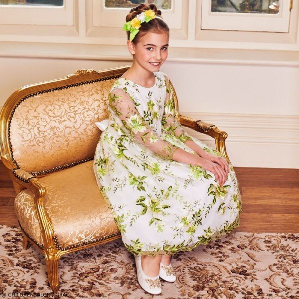 Graci Girls EID Green Embroidered Tulle Party Dress