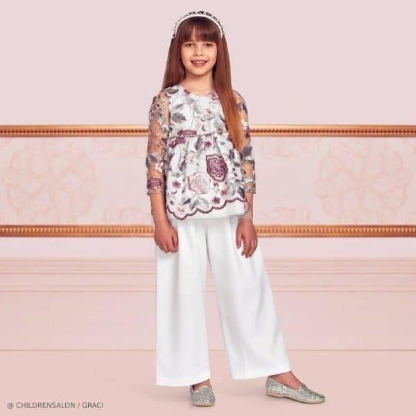 Graci Girls EID Ivory Tulle Floral Shirt Pant Set