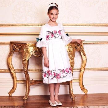 Graci Girls EID White Satin Pink Rose Jacquard Dress