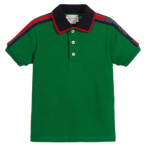 Gucci Boys Green Cotton Polo Shirt