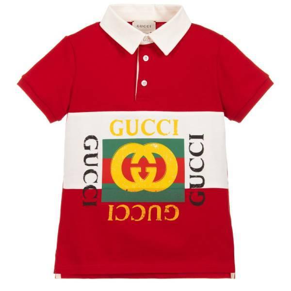 Gucci Boys Red Cotton Polo Shirt