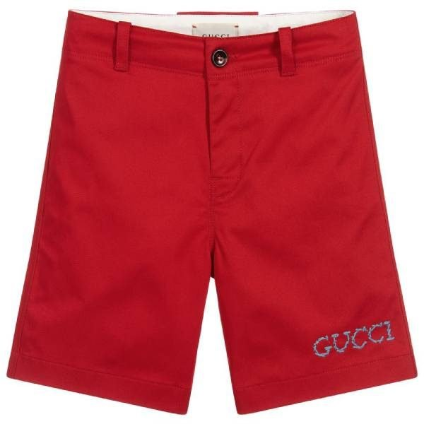 Gucci Boys Red Cotton Shorts