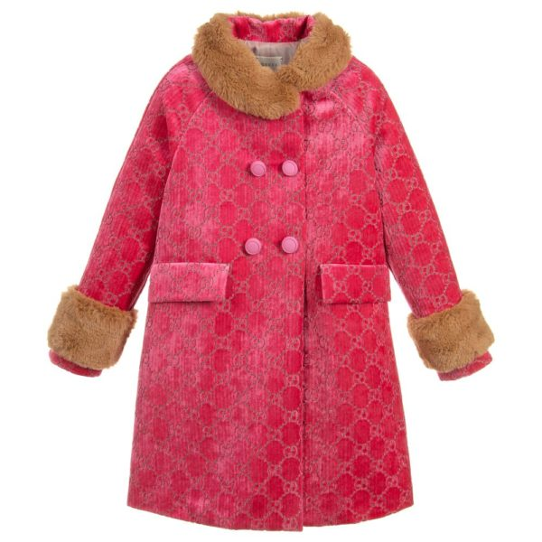 Gucci Girls Pink GG Velvet Coat